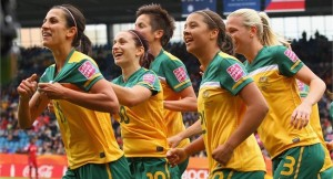 Matildas v Guinea celebration photo